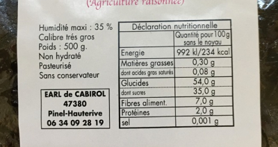ingredients pruneaux denoyautes